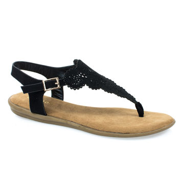 Tundra54S Black By Bamboo, Women's Flat Thong Sandal w Ankle Strap & Laser Cutout Floral