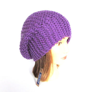 Bright purple beret style hat - slouch hat - hat for women - knit hat - chunky knit hat - warm winter hat - wool knit beanie - pure wool hat