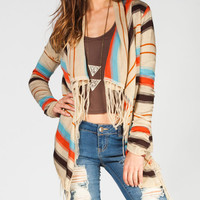 Full Tilt Ethnic Stripe Womens Wrap Sweater Multi  In Sizes