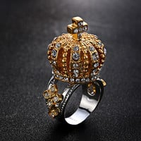 vintage jewelry Rhinestone Imperial crown ring with cross exaggerated 3D crown ring for women 008