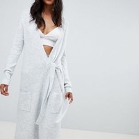 Micha Lounge Wrap Maxi Cardigan With Tie Side at asos.com