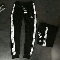 Adidas Fashion new letter print string mark leisure sports couple trousers pants Black