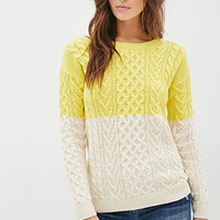 LOVE 21 Colorblock Cable Knit Sweater Yellow/Cream