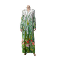 Vintage 60s 70s Tropical Flowers Print Lounge Dress 1960s 1970s Garden Floral Print Robe Loungewear Loungees Hostess Gown Caftan / M