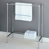 Chrome finish metal bathroom accessory towel rack