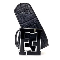 Fendi Belt FF Zucca Black Strap Black Buckle Fashion Designer Men's 38