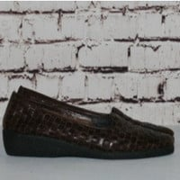 90s woven leather loafers chunky wedge heel brown black 7.5 7 5 38 grunge hipster boho hippie preppy shoes flats