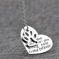 *FREE* Dog Memorial Necklace - If Love Could Have Saved You, You Would Have Lived Forever