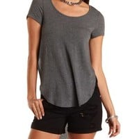 Side-Slit Ribbed High-Low Tee by Charlotte Russe