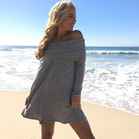 Turned Down Off Shoulder Knit Dress