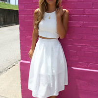 The Olivia White Crop Top A-Line Skirt Two Piece Set