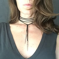 Spikes Choker / Spike Necklace / Choker / Silver Choker / Lariat Neckalce / Bolo Tie / Wrap Necklace / Gift