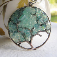 Aquamarine Stained Glass Tree of Life Pendant