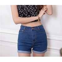 2017 New Fashion women's jeans Summer High Waist Stretch Denim Shorts Slim Korean Casual women Jeans Shorts Hot Plus Size S-XXXL