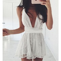 hot cross net lace dress