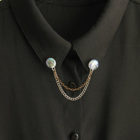 Sparkling Collar Clips, Collar Pins, Glitter Collar Brooch Double Chain, Sweater Clips, Cardigan Clips, Silver Collar Tips, Gift under 15