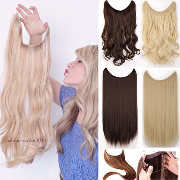US SHIP Silky Mega Thick 20inch Clip In Hair Extensions Long Curly Hair Extensions Brown Blonde Gray Mix Color