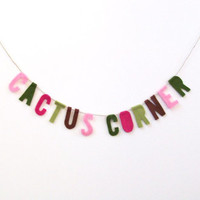 Cactus Corner felt banner, room banner, catus garland in fuchsia, pink, green, olive and brown