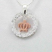 SILVER 925 HAWAIIAN PLUMERIA LEI DANGLE ROSE GOLD PLATED BABY TURTLE PENDANT