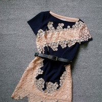 Lace Dress in Navy Blue and Beige