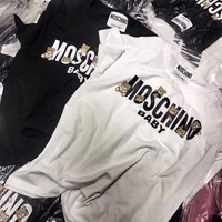 """Moschino"" Women Casual All-match Cute Cartoon Bear Letter Print Short Sleeve T-shirt Top Tee"
