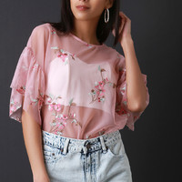Floral Mesh Bell Statement Sleeve Top | UrbanOG
