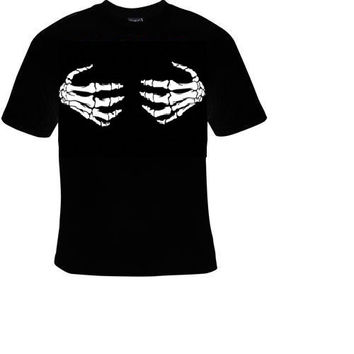 skull hands bones scarry t-shirt cool funny t-shirts cute gift present humor tee shirts