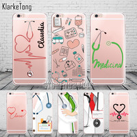 Cute Love Doctor Medical Case For iPhone 6 6s 5 5s SE 7 7Plus Transparent Soft Silicone Cell Phone Cases Capa Capinha