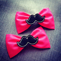 Hot pink black mustache handmade fabric bow tie or hair bow