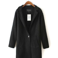 Long Sleeve Notched Collar Coat