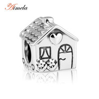 AIMELA High Quality 925 Sterling Silver Sweet Home Charm Beads Fit Original Pandora Bracelet Berloques Authentic Silver Jewelry