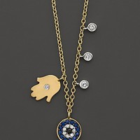 Meira T Diamond Hamsa and Evil Eye Necklace Set in 14K Yellow Gold