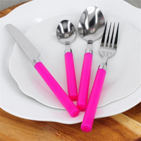 HA209-8 Free Shipping High Quality Stainless Steel Dinnerware Cutlery Set  Rose Red Half Tang Flatware Set