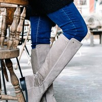 Faux Suede Knee-High Boots   Stone