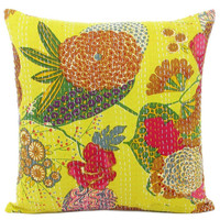 24x 24 Yellow kantha Pillow Cover, kantha Throw Pillow, Decorative kantha Pillow, Indian Pillowcase, Indian Cushion Cover Extra Large Pillow