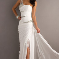 One Shoulder Prom Gown by Bari Jay