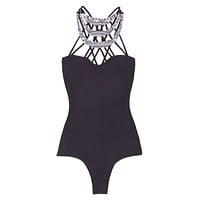 Kenya High Neck Strappy One Piece Swimsuit - Black & Shark Tribal Print