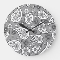 Paisley Flowers Stripes Pattern Original art Large Clock