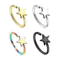 BodyJ4You Nose Ring Hoop Septum Nostril Star Rainbow Black Goldtone Body Jewelry Set 4 Pieces