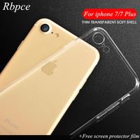 TPU case for apple Iphone 7 7 plus that is protective silicone transparent soft ultra-thin Clear back-cover case + free shipping