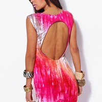 Pink & Orange Bejeweled Backless Pencil Party Mini Dress