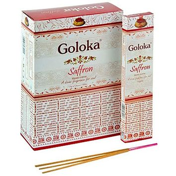 Goloka Saffron Incense - 15 Gram Pack (12 Packs Per Box)