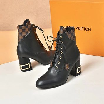 lv louis vuitton trending womens black leather side zip lace up ankle boots shoes high boots 180
