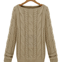 Twisted Accent Long Sleeve Knitted Sweatshirt