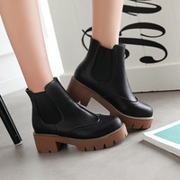 Round Toe Chunky Heel Chelsea Boots 3539