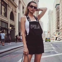 """Fila"" Women Casual Fashion Letter Logo Print Back Strap Pants Romper Jumpsuit Shorts"