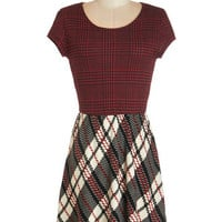 ModCloth Nifty Nerd Cap Sleeves A-line Back to Campus Dress