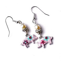 Pink Pig Dangle Earrings FREE SHIPPING Hand Painted Flowers Cute Whimsical Jewelry