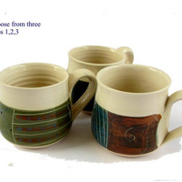 Pottery cups. ceramic coffee cups. Pottery coffee cups. Ceramic coffee set. Pottery coffee set. Holiday gift ideas. Farmhouse chic.