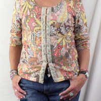 Talbots Paisley Sweater L size Multi Color Floral Soft Beaded All Season Top